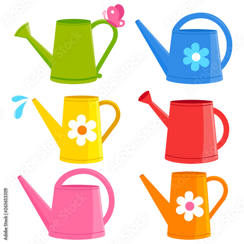 Obraz na płótnie Colorful watering cans. Vector illustration collection.