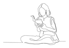 Continuous Line Drawing Woman. Girl Sitting Reading A Book