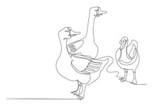 Draw A Continuous Line Of Three Goose