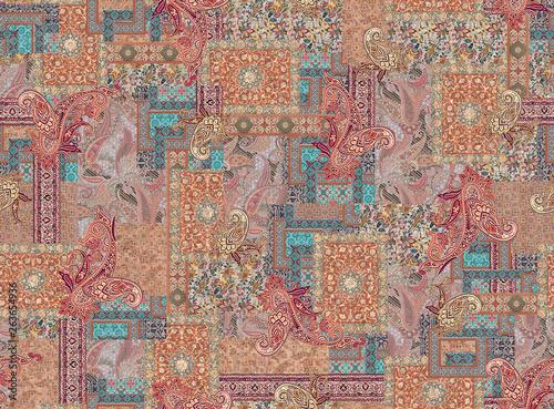 Staande foto Oost Europa seamless geometric paisley pattern