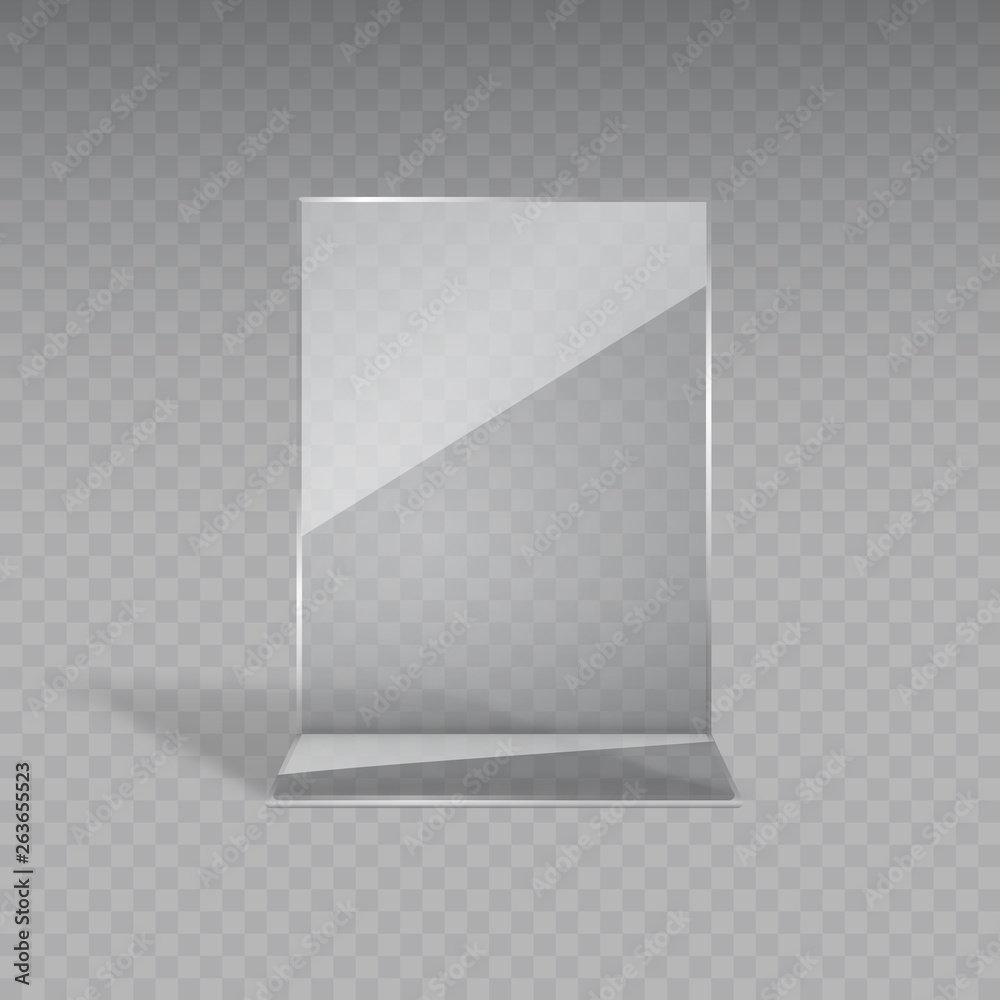 Fototapeta Stand or acrylic table tent, card holder isolated on transparent background. Vector empty flyer glass display. Plastic frame of photo, paper sheet mock up or restaurant menu for your design.