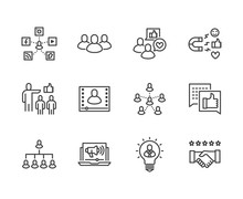 Key Opinion Leader Flat Line Icons Set. Influence Marketing, Social Media Advertising, Business People, Blogger Vector Illustrations. Thin Signs For KOL. Pixel Perfect 64x64. Editable Strokes