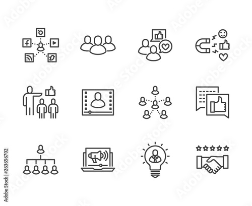Fényképezés Key Opinion Leader flat line icons set