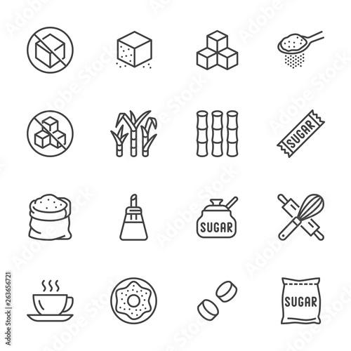 Vászonkép Sugar cane, cube flat line icons set