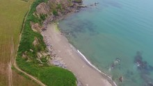 4K Cornwall Aerial Over Par Sands Beach And Surrounding Coast And Polkerris