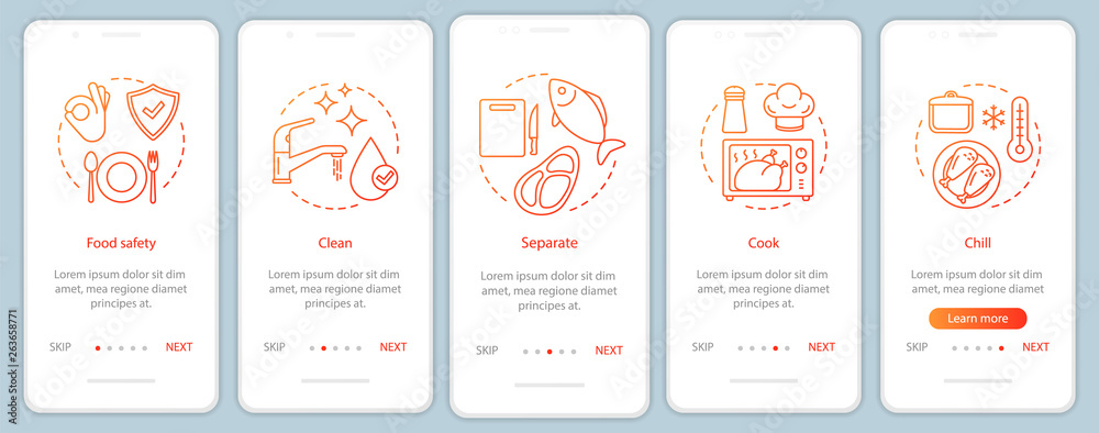 Fototapeta Food safety onboarding mobile app page screen vector template