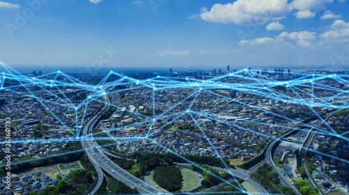 Fototapeta 都市とネットワーク obraz