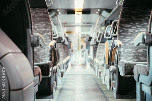 Tuinposter Vliegtuig Interior of a public transport train, empty seats