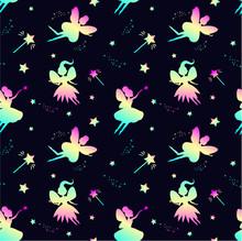 Pattern With Rainbow Fairy Sil...