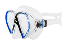 Blue Mask For Scuba Diving, On A White Background