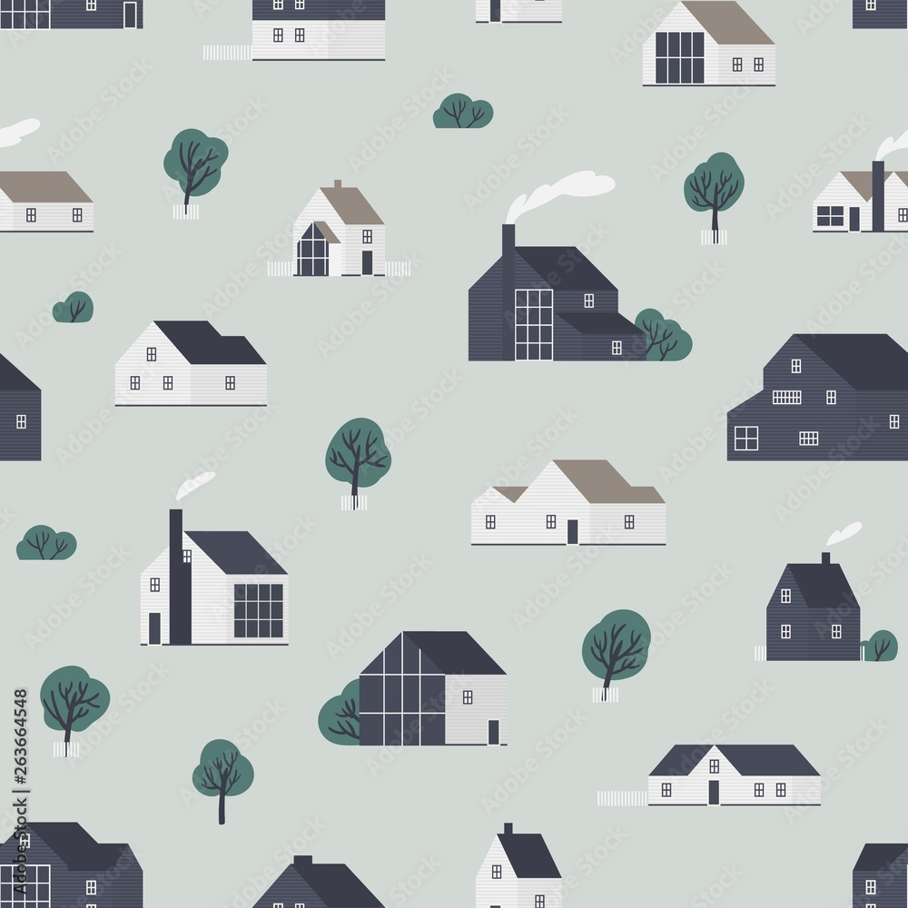 Seamless pattern with wooden country houses, town cottages, dwelling in Scandic style. Backdrop with suburban residential buildings. Flat vector illustration for wrapping paper, textile print.