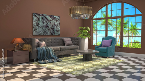 Fototapety, obrazy: Interior of the living room. 3D illustration