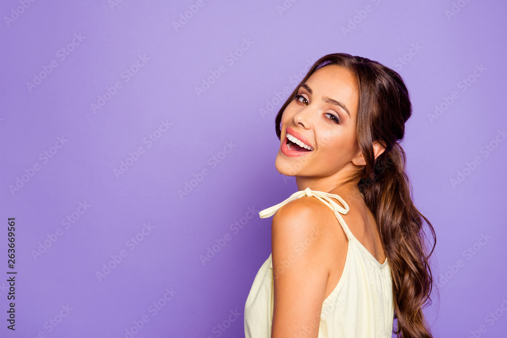 Fototapeta Close-up profile side view portrait of her she nice attractive stunning lovable fascinating magnificent winsome cheerful cheery wavy-haired girl isolated over violet pastel background