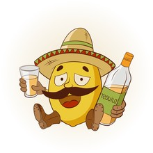 Cartoon Lemon In A Sombrero And Boots Drinking Tequila. Vector Illustration