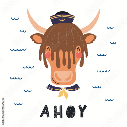 Hand drawn vector illustration of a cute yak sailor, with sea waves, lettering quote Ahoy. Isolated objects on white background. Scandinavian style flat design. Concept for children print.