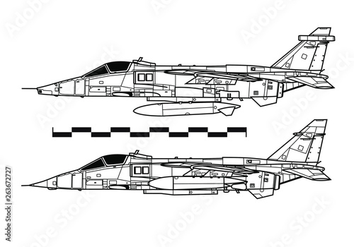 SEPECAT Jaguar  Outline drawing - Buy this stock vector and
