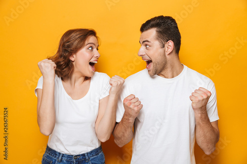 Fotografie, Tablou  Portrait of a cheerful young couple standing