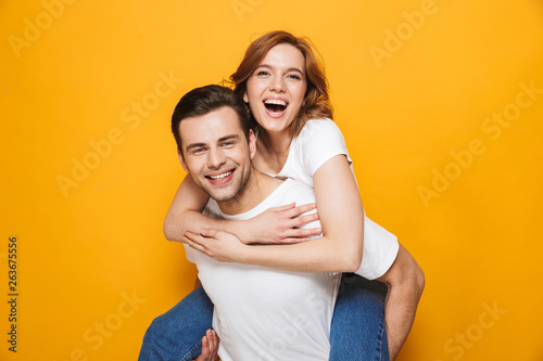 Fotografie, Obraz  Portrait of a cheerful young couple standing