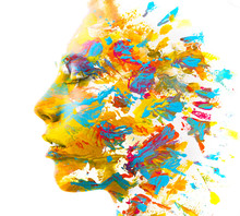 Paintography. Double Exposure. Close Up Of A Strong Attractive Model Combined With Colorful Hand Drawn Acryllic Paintings With Overlapping Brushstroke Texture