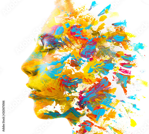 Poster Spa Paintography. Double exposure. Close up of a strong attractive model combined with colorful hand drawn acryllic paintings with overlapping brushstroke texture