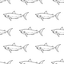 White Shark Character Abstract...