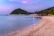 The fishing village is located by the sea at sunset, Phakit Island, Chumphon, Thailand