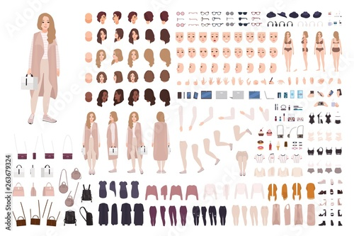 Cuadros en Lienzo Stylish modern girl animation kit or DIY set