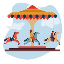Merry-go-round Or Carousel Isolated Icon Children And Attraction Fun Fair