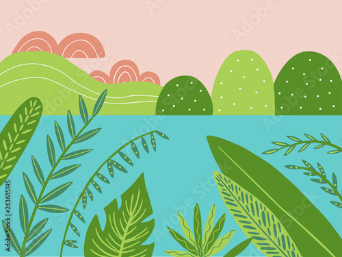 Keuken foto achterwand Turkoois Sunset landscape vector illustration in doodle style. Plants, river and tropical leaves hand drawn background