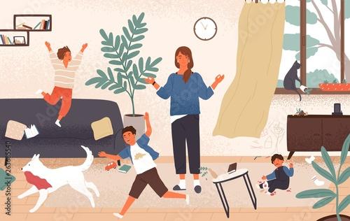 Calm mom and naughty mischievous children running around her Fotobehang