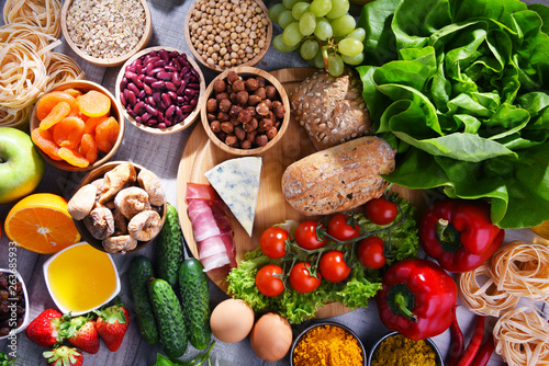 Fototapeta Assorted organic food products on the table obraz