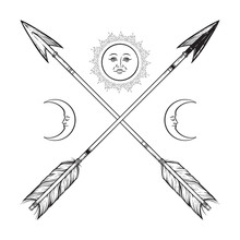 Crossed Arrows With Crescents And Full Moon Line Art. Boho Sticker, Print Or Blackwork Flash Tattoo Art Design Vector Illustration