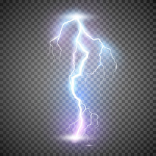 Lightning. Thunder Storm Realistic Lightning. Magic And Bright Light Effects. Vector Illustration Isolated On Transparent Background
