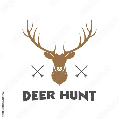 vintage deer head logo illustration