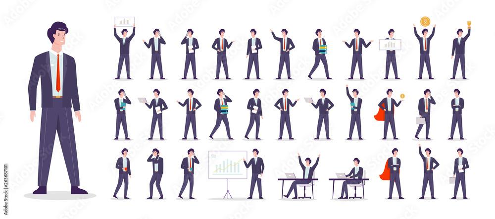 Fototapeta Businessman character set. Character in suit doing