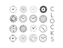 Clocks Collection Vector Illustration.  Clock Icons.