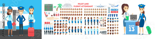 Stewardess and pilot character set for the animation with various views Wallpaper Mural
