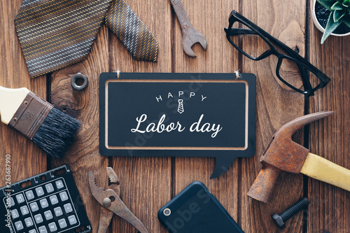 Valokuvatapetti Happy Labor day background concept