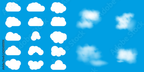 Poster Ciel Set of different clouds vector illustration. Flat clouds and realistic clouds