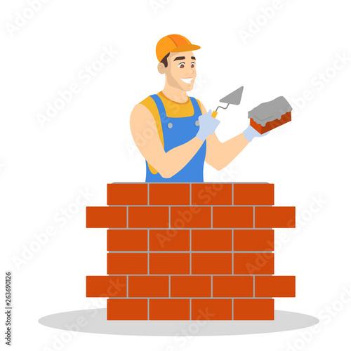 Fotografía Man building brick wall. Construction worker in a uniform
