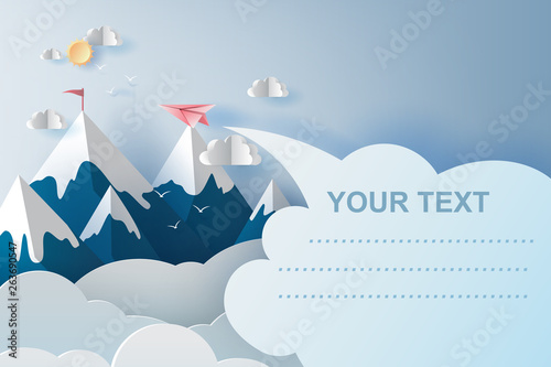 Poster Bleu nuit 3d illustration art of airplanes flying above mountains on blue sky.Creative design Paper cut and craft style of business teamwork or targeted mountain concept idea.scene your text space.vector