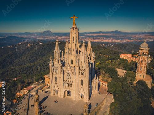 Foto auf Leinwand Barcelona Temple Sacred Heart of Jesus on Tibidabo in Barcelona, Spain 2019