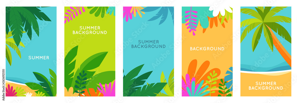 Fototapeta Vector set of social media stories design templates, backgrounds with copy space for text - summer landscape
