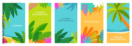 Foto auf AluDibond Turkis Vector set of social media stories design templates, backgrounds with copy space for text - summer landscape