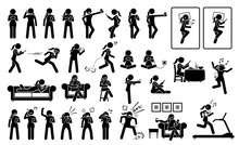 Woman Using Phone Or Smartphone In Different Poses, Actions, Emotions, Reactions, And Places. Artworks Depicts A Female Stick Figure Using Cellphone At Bed, Sofa, Chair, Restaurant, And Gym Room.
