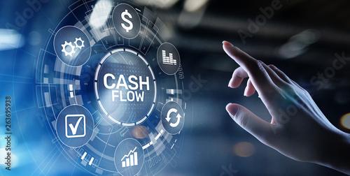 Obraz Cash flow button on virtual screen. Business Tehcnology concept. - fototapety do salonu