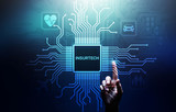 Insurtech button on virtual screen. Insurance technology internet digital iot insured family car property health.