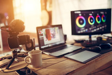 Blogger Gear Desktop View And Camera Laptop And Monitor Color Grading Footage