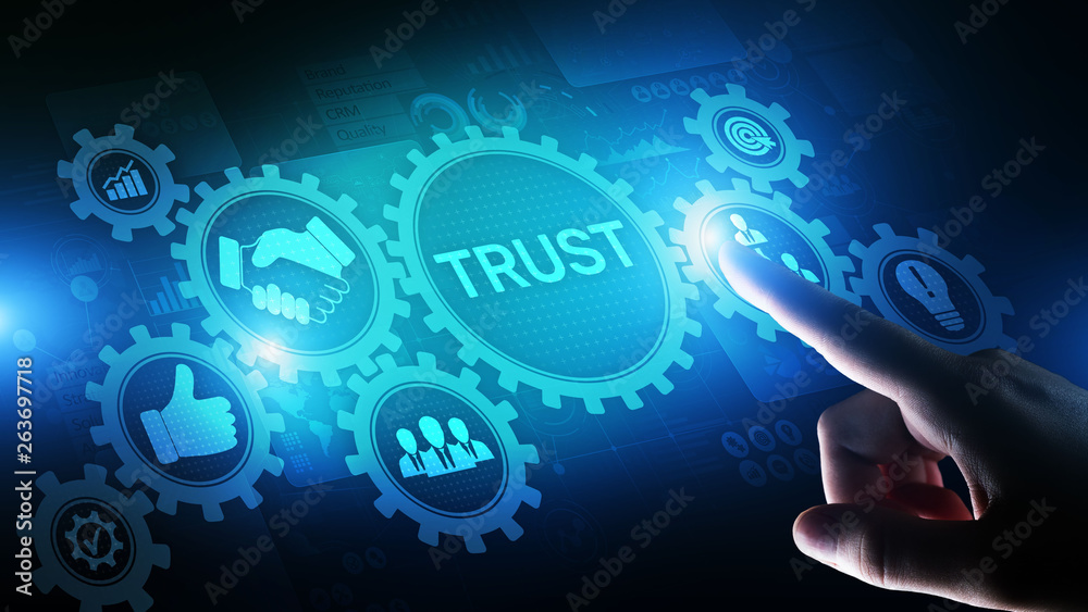 Fototapeta Trust customer relations reliability business concept. Pointing and pressing on virtual screen.
