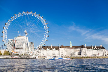 London Eye near County Hall in summer view from Thame river boat cruise.